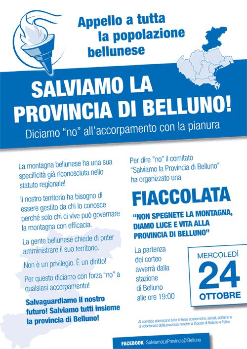 """locandina """"Salviamo la Provincia di Belluno"""""""