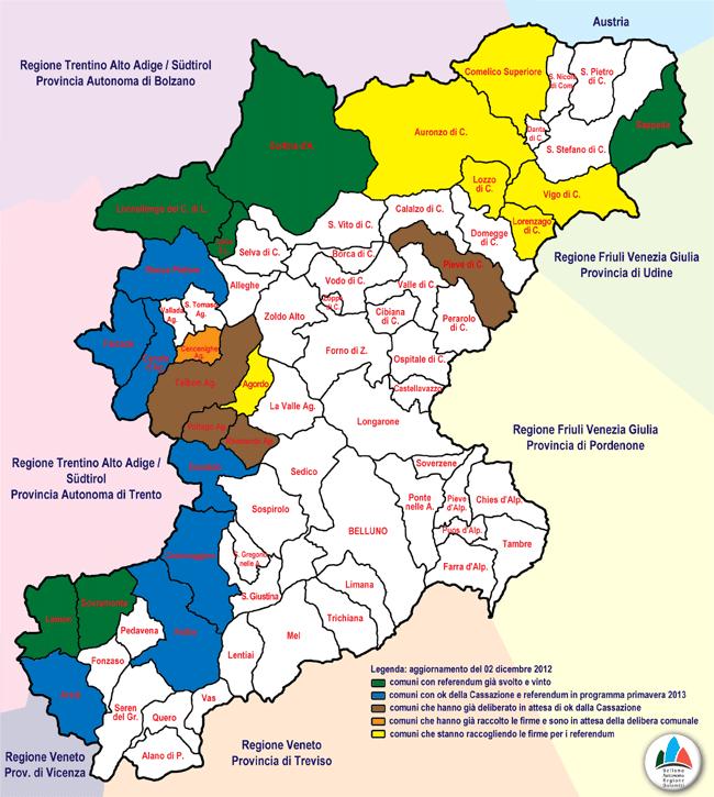 """mappa """"stato dei referendum"""" comunali in provincia di Belluno - agg. 2 dic 2012"""