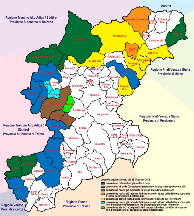 mappa dei referendum in provincia di Belluno aggiornata al 22 dic 2012
