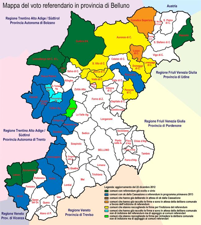 Mappa voto referendario in provincia di Belluno