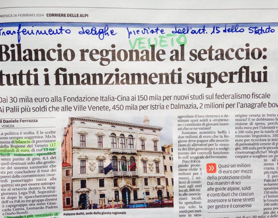 Bilancio regione Veneto al setaccio